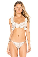 For Love & Lemons Corsica Lacey Ruffle Top in White Lace