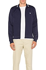 Fred Perry Funnel Neck Track Jacket in Carbon Blue