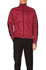 Contrast Panel Track Jacket in Maroon