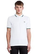 Twin Tipped Fred Perry Shirt in White & Island Green & Dark Dark Carbon