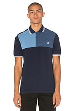 Blue Colour Block Chest Polo en Bleu Chiné