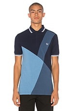 Blue Colour Block Panel Polo en Bleu Chiné