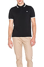 Slim Fit Twin Tipped Polo en Noir & Porcelaine