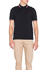 Slim Fit Twin Tipped Polo en Marine & Blanc & Rouge