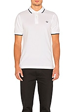 Twin Tipped Slim Fit Polo en White & Navy & Ice