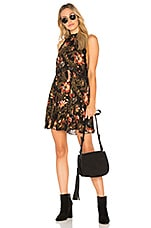 Free People Printed She Moves Mini Dress in Black Combo