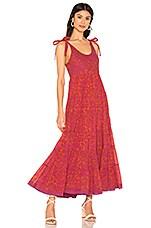 Free People Kikas Printed Midi Dress in Tangerine