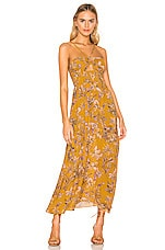 Free People One Step Ahead Maxi Dress in Gold