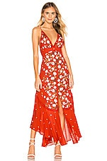 Free People Paradise Printed Maxi Dress in Red