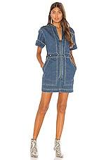 Free People Dream On Denim Mini Dress in Indigo Blue