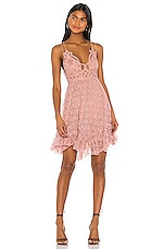 Free People Adella Burnout Velvet Slip Dress in Rose