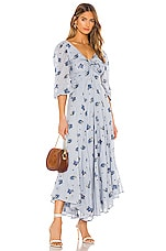 Free People Sea Glass Midi Dress in Blue Combo