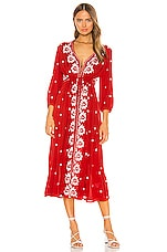 Free People Embroidered V Maxi Dress in Red Combo