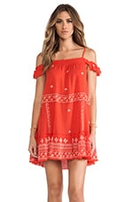 Free People Embroidered Flounce Dress in Red Combo