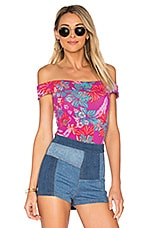 Off The Shoulder Printed Bodysuit in Pink
