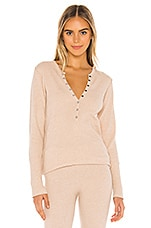 Free People Think Thermal Henley Tee in Neutral