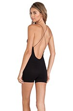 Free People Seamless Low Back Romper in Black