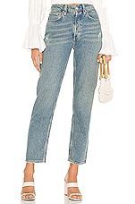 Free People Fast Times High Rise Mom Jean in Indigo Blue