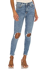 Free People High Rise Busted Skinny Jean in Navy