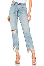 Free People Chewed Up Midrise Straight Jean in Indigo Blue