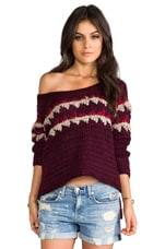 Free People Fuzzy Fair Isle Pull Over in Merlot