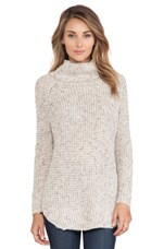 Free People Dylan Tweed Pullover in Oatmeal Combo