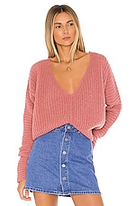 Free People Moonbeam V Neck Sweater in Rose