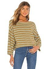 Free People Bardot Sweater in Green Combo