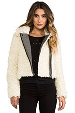 Shaggy Faux Sherpa Moto Jacket in Ivory