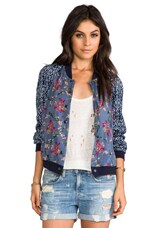 Free People Floral Printed Baseball Jacket in Indigo Blue