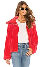 Free People Dazed High Neck Pullover Jacket in Red