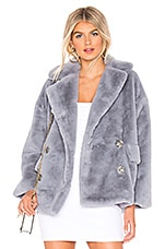 Free People Solid Kate Faux Fur Coat in Sky