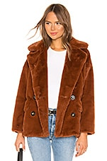 Free People Solid Kate Faux Fur Coat in Terracotta