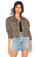 Free People Cheetah Printed Denim Jacket in Neutral Combo
