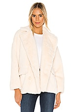 Free People Solid Kate Faux Fur Coat in Ivory