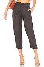 Free People Only Over You Linen Trouser in Black