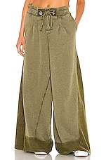 Free People X FP Movement Half Court Wide Leg Pant in Olive