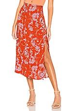 Free People Retro Love Midi Skirt in Burnt Orange