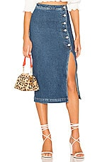 Free People Jasmine Buttoned Midi Skirt in Denim Blue