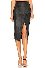 Free People Whitney Vegan Leather Pencil Skirt in Black