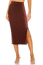 Free People Helen Rib Tube Skirt in Brown