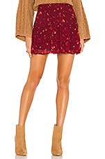 Free People From The Valley Mini Skirt in Wine