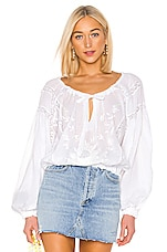 Free People Maria Maria Lace Blouse in White