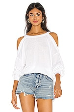 Free People Chill Out Long Sleeve Tee in White
