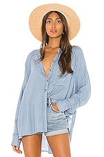 Free People Keep It Simple Button Down in Blue