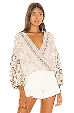 Free People Harmony Embroidered Blouse in Ivory
