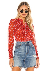 Free People Flowers In December Blouse in Red