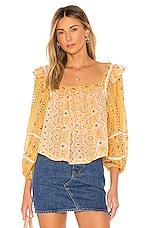 Free People Mostly Meadow Blouse in Yellow