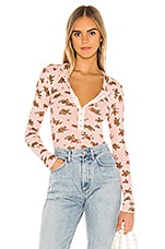 Free People One Of The Girls Printed Tee in Pink