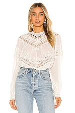 Free People Abigail Victorian Top in Ivory